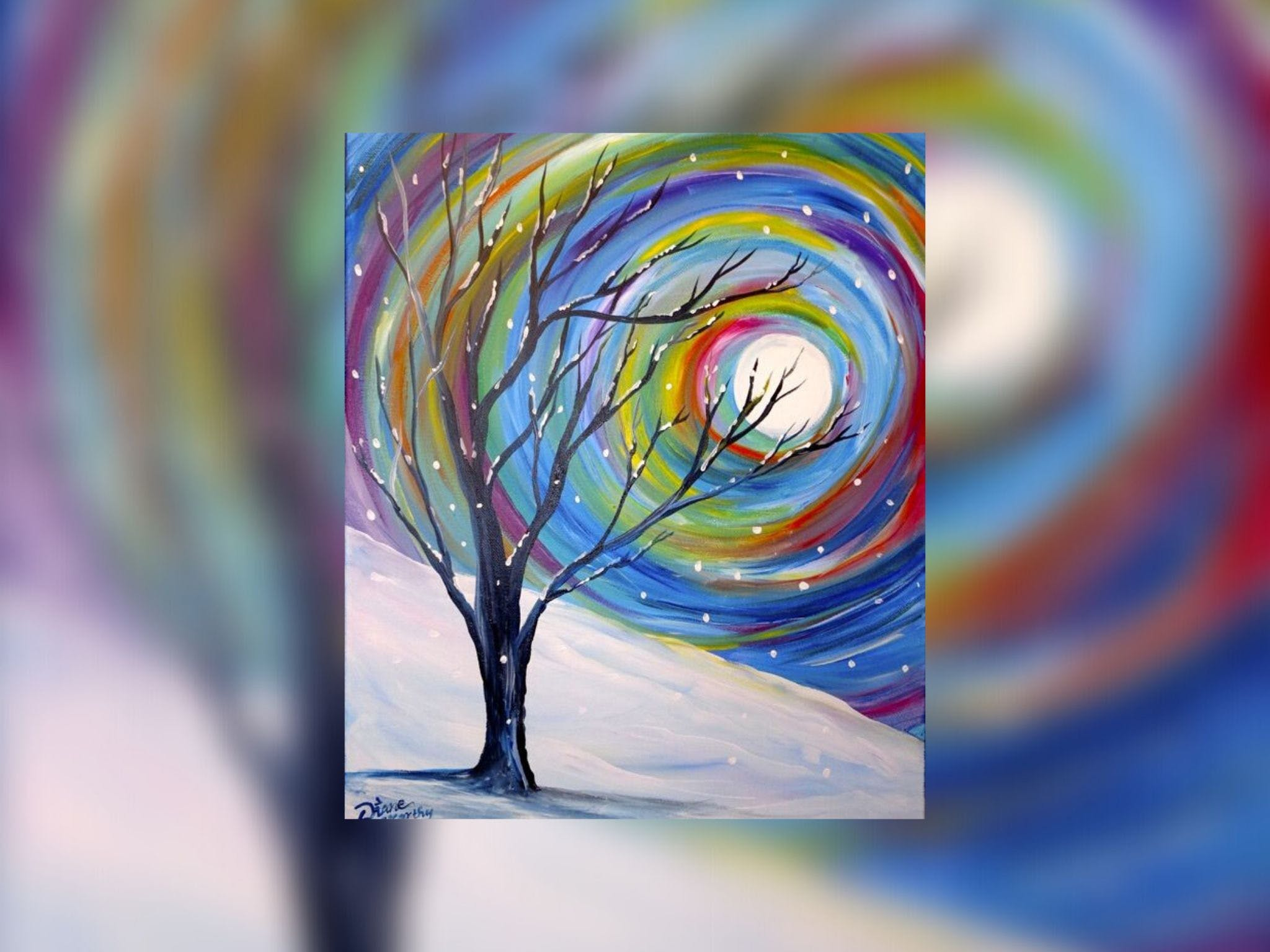 Grab a glass of wine and learn to paint 'Rainbow Snow' - Lightning Ridge Tourism